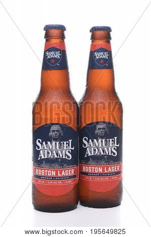 IRVINE CA - JULY 16 2017: Samuel Adams Boston Lager two bottles. From the Boston Beer Company. Based on sales in 2016 it is the second largest craft brewery in the U.S.
