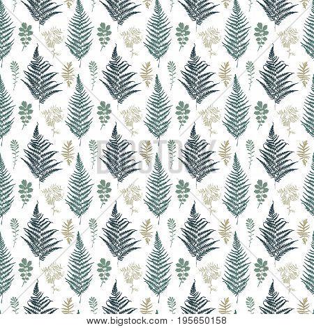 Vector illustration of turquoise Fern seamless pattern.