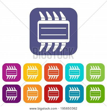 CPU icons set vector illustration in flat style In colors red, blue, green and other