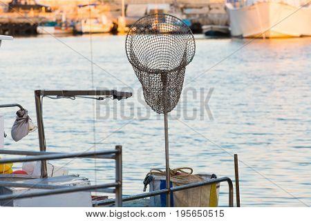 dip net in boat fishing, fishing landing net