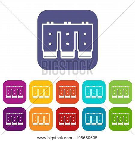 Electronic circuit board icons set vector illustration in flat style In colors red, blue, green and other
