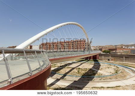Modern bridge over the Guadalentin river in Lorca. Province of Murcia southern Spain