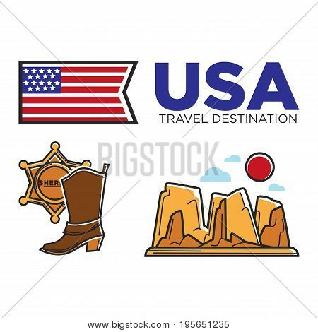 USA travel symbols or America culture and famous tourist landmark attractions. American flag, Colorado canyon or mountain rock, sheriff star badge and cowboy boots. Vector icons set