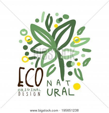 Eco natural label original design, logo graphic template. Healthy lifestyle, handmade products, organic food menu hand drawn vector Illustration with floral elements