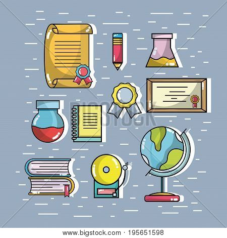 set school tools that need the student to learn vector illustration