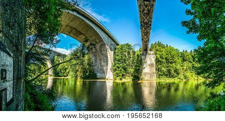Three huge bridges across the large Iller River in Kempten, Germany.