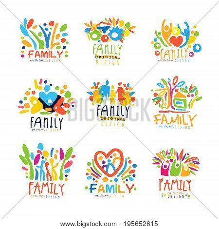 Colorful Family labels original design, set of logo graphic templates colorful hand drawn vector Illustrations