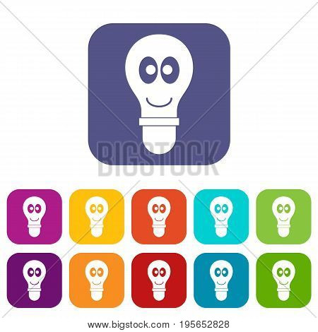 Smiling light bulb with eyes icons set vector illustration in flat style In colors red, blue, green and other
