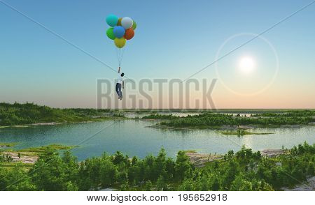 A man is flying on balloons.,3d render