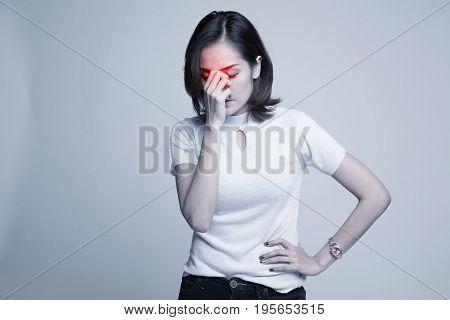 Young Asian Woman Got Sick And  Headache.