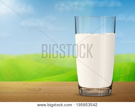 Glass of milk on wooden table on background of blurred landscape. Cow milk in glass cup with meadow and sky. Vector illustration for milk food service dairy beverages gastronomy health food etc