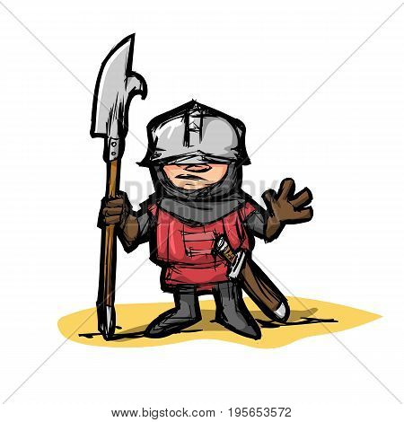 Cartoon medieval warrior with a halberd in color doodle style