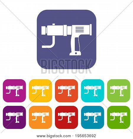 Hand drill icons set vector illustration in flat style In colors red, blue, green and other