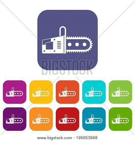 Chainsaw icons set vector illustration in flat style In colors red, blue, green and other