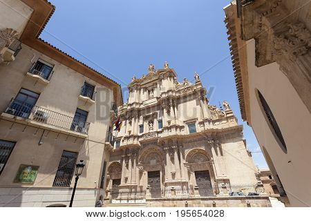 Ancient cathedral of Saint Patrick in the historic city of Lorca. Province of Murcia Spain