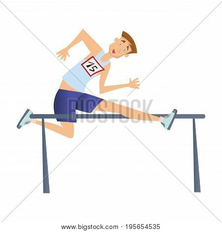 Running with obstacles. Young man jumping over the barrier. Vector illustration, isolated on white background.