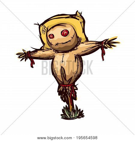 Cartoon scarecrow in the style of colored doodle