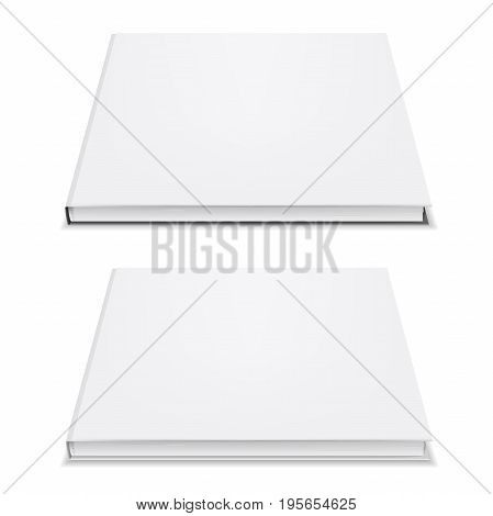 Blank book mockup. Empty cover for your design presentation. Realistic 3d object isolated on white background. Square shape. Applicable for booklet, notepad, brochure, catalog. Vector eps 10.