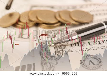 Double exposure stock graph and dollar coin money. concept business economy finance.
