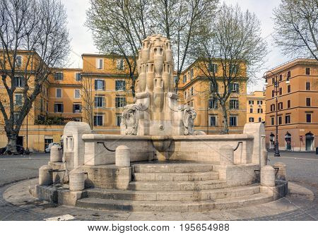 The Fontana delle Anfore (Fountain of the Amphorae) located in Testaccio a quarter of Rome. The motive of the amphorae refers to the Monte Testaccio and to the symbol of the whole quarter