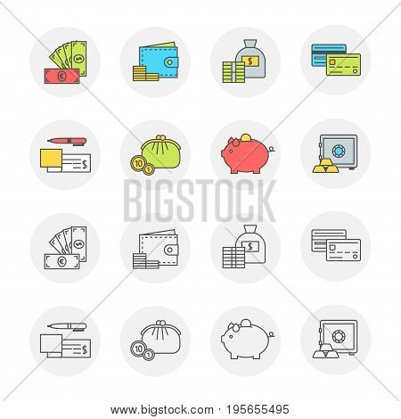 Conceptual icon set flat design. Money, payment and finance modern symbols with contour for web sites and mobile applications, transparent line and color, vector illustration