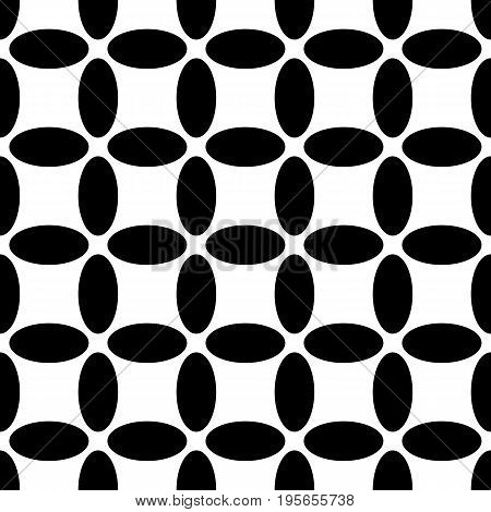 Monochrome repeating abstract geometrical pattern - vector ellipse dot background design