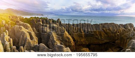 Panoramic image of beautiful Pancake Rocks and Blowholes located in Paparoa National Park Punakaiki South Island of New Zealand