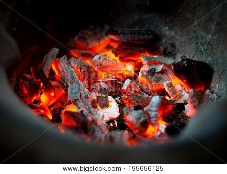 Traditional charcoal burning clay stove for preparing food