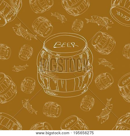 Seamless pattern of barrels of beer and fish in a contour handmade style. Vector illustration.