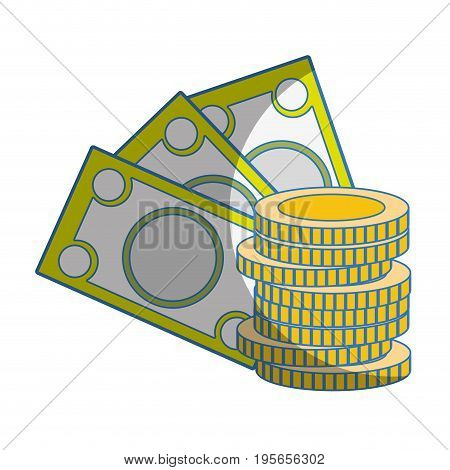 bills and coins cash moey currency vector illustration