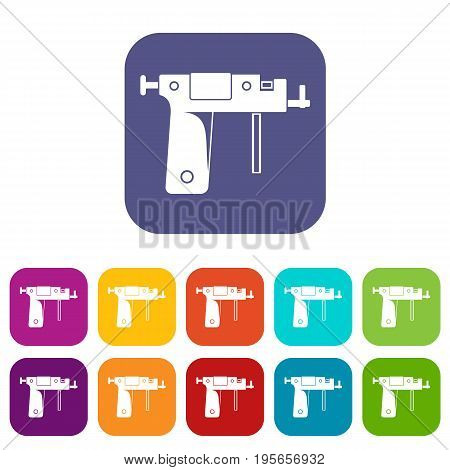 Piercing gun icons set vector illustration in flat style In colors red, blue, green and other