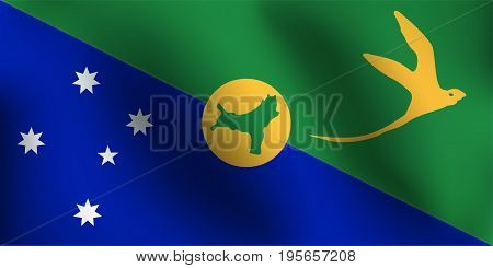 Flag of Christmas Island with a little Waving, Shading & Flag Colors separated layers - Vector Illustration