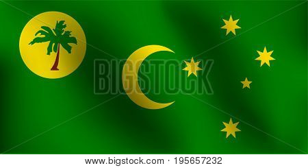 Flag of Cocos Island with a little Waving, Shading & Flag Colors separated layers - Vector Illustration