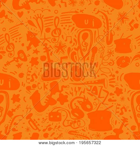 Music instruments seamless background pattern with instrument.seamless background doodle .Vector hand drawn illustration.