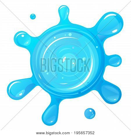 One blue water blob on top view with transparent, isolated