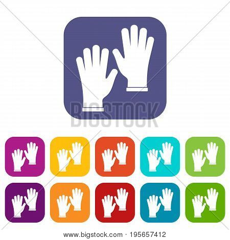 Medical gloves icons set vector illustration in flat style In colors red, blue, green and other