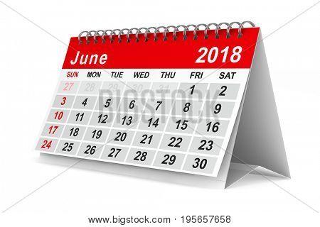 2018 year calendar. June. Isolated 3D illustration