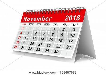 2018 year calendar. November. Isolated 3D illustration