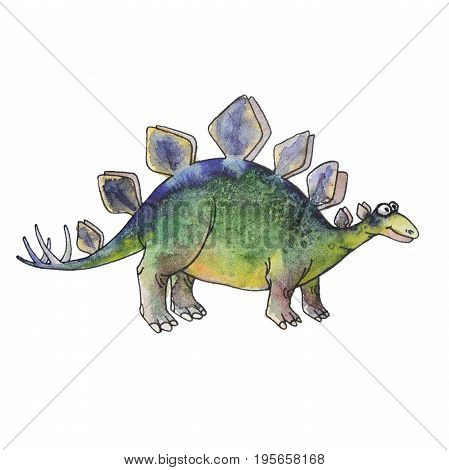 prehistoric dinosaur Stegosaurus armatus or covered lizard isolated on white background. Fossil animals and reptiles in cartoon watercolor style.