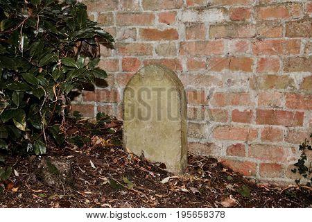 Rip Near Brick Fence
