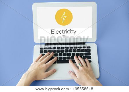 Lighting Thunder Bolt Flash Electric Power Icon Graphic