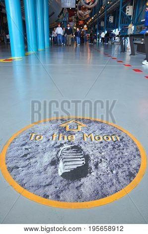 FLORIDA, USA - DEC 20, 2010: Sign of To the Moon in the John F. Kennedy Space Center in Florida, USA.