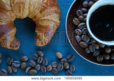 Freshly Baked Croissant And Coffee Good Start Of Working Day