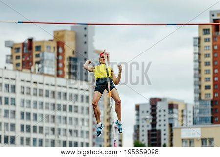 Chelyabinsk Russia - July 7 2017: pole vaulting male athlete failed attempt during Ural Championship in athletics