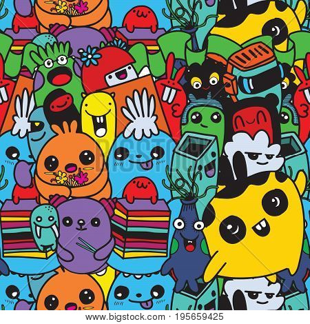 Vector Cute Monsters Set Collection Isolated,doodle Style