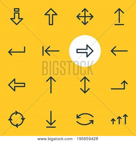 Vector Illustration Of 16 Arrows Icons. Editable Pack Of Increase, Direction, Update And Other Elements.