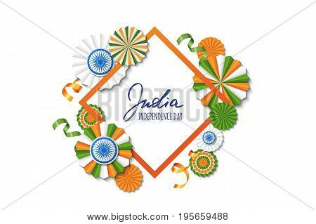 15Th Of August, India Independence Day. Vector Paper Stars In Indian Flag Colors, Ashoka Wheel, Hand