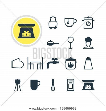 Vector Illustration Of 16 Cooking Icons. Editable Pack Of Stewpot, Faucet, Cook And Other Elements.