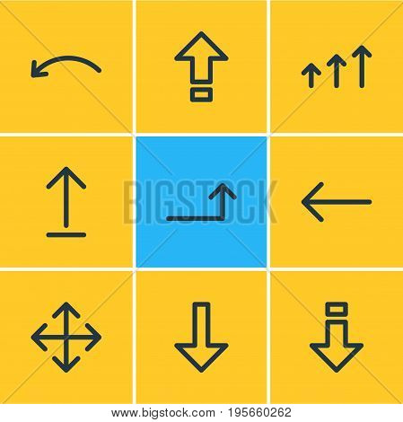 Vector Illustration Of 9 Sign Icons. Editable Pack Of Down, Submit, Raise And Other Elements.