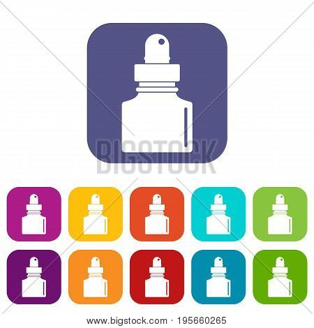 Black inkwell icons set vector illustration in flat style In colors red, blue, green and other